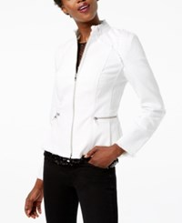 Inc International Concepts Lace Up Back Denim Jacket Created For Macy's White