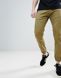 Solid Textured Cuffed Chinos Green