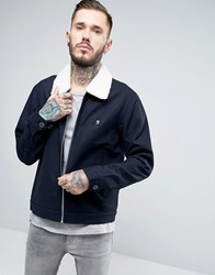 Farah Bomber Jacket With Borg Collar In Navy Wool Navy