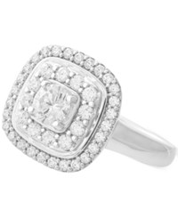 Wrapped In Love Diamond Double Halo Cluster Ring 1 Ct. T.W. 14K White Gold Created For Macy's