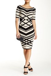 Wow Couture Striped Wide V Neck Bodycon Midi Dress Beige