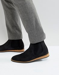 Zign Suede Chelsea Boots With Cork Detail Black
