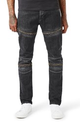 Topman Men's Aaa Collection Stretch Skinny Fit Moto Jeans Black