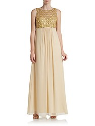 Js Boutique Beaded Empire Waist Chiffon Gown Champagne