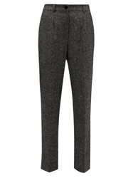 Dolce And Gabbana High Waisted Virgin Wool Blend Tweed Trousers Grey Multi