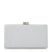 Linea Bryley Embellished Clasp Clutch Silver