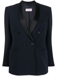 Alberto Biani Fitted Double Breasted Blazer Blue