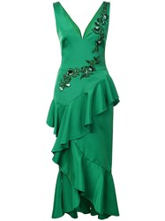 Marchesa Notte Embroidered Midi Dress Green