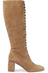 Red V Lace Up Suede Knee Boots Camel