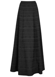 Alice Olivia Lexia Black Striped Brocade Maxi Skirt