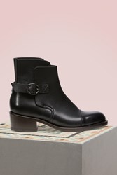 J.M. Weston Jodhpur Ankle Boots With Grained Calf Buckle Black
