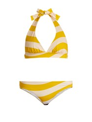 Fendi Striped Halterneck Bikini Yellow Multi