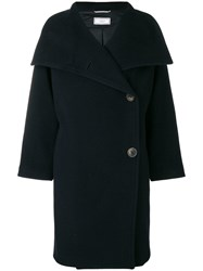 Peserico Wrapped Front Coat Blue