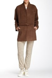 Shades Of Grey Collarless Judo Belt Wool Blend Coat Brown