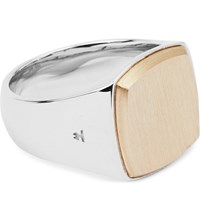 Tom Wood Cushion 9Ct Rose Gold And Silver Ring Rose Gold Silver