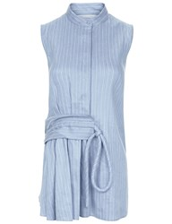 Victoria Beckham Powder Blue Pinstripe Gathered Sleeveless Shirt