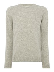 Selected Men's Homme Wool Crew Knit Light Grey