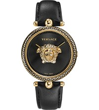 Versace Palazzo Empire Yellow Gold And Leather Watch