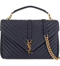 Saint Laurent Monogram College Leather Satchel Navy Gold Hardware
