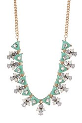 Cara Accessories Multi Rhinestone Bib Necklace Green
