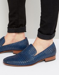 Jeffery West Yung Woven Leather Smart Loafers Blue