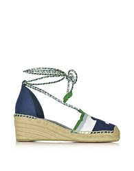 Tory Burch Laguna Navy Sea And Multicolor Canvas And Nubuck Lace Up Wedge Espadrilles Navy Blue