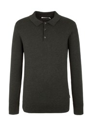 Ben Sherman Long Sleeve Cotton Polo Forest Green Marl