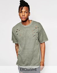 Reclaimed Vintage Oversized T Shirt With Distressing Khaki Green