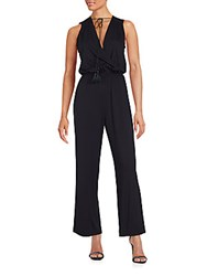 Max Studio Plunging V Neck Sleeveless Jumpsuit Black