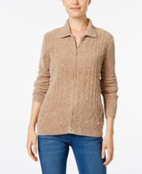 Alfred Dunner Chenille Zip Up Cardigan Fawn