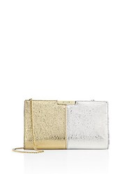 Milly Two Tone Metallic Leather Small Frame Clutch Multi