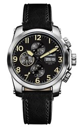 Ingersoll Watches Men's Manning Automatic Leather Strap Watch 44Mm Black Silver