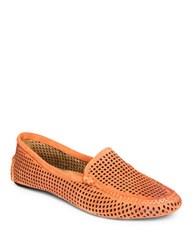 Patricia Green Barrie Perforated Suede Loafers Orange