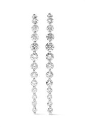 Anita Ko Long Cascade 18 Karat White Gold Diamond Earrings One Size