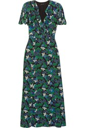 Saloni Josee Printed Silk Crepe Maxi Dress Green