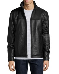 Boston Harbour Leather Stand Collar Bomber Black