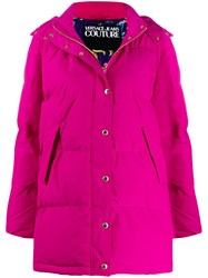 Versace Jeans Couture Padded Hooded Coat Pink