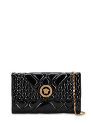 Versace Icon Quilted Patent Leather Shoulder Bag Black