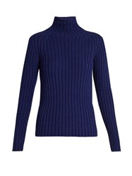 Vanessa Bruno Franja Roll Neck Ribbed Knit Sweater Blue