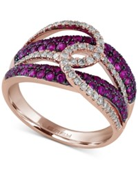 Effy Collection Rosa By Effy Ruby 3 4 Ct. T.W. And Diamond 1 3 Ct. T.W. Looped Designed Statement Ring In 14K Rose Gold Red