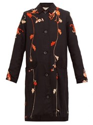 By Walid Clara Floral Embroidered Silk Coat Black Red