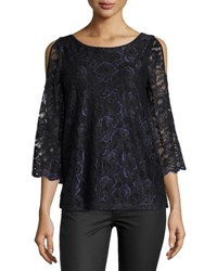 Neiman Marcus Wide Neck Cold Shoulder Top Black Blue