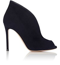Gianvito Rossi Women's Vamp Suede Ankle Booties Navy