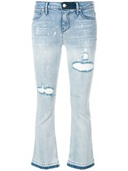Rta Cropped Flare Jeans Blue