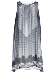 Max Studio Sleeveless Printed Dress Navy Aqua Pixel