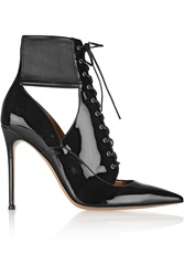 Gianvito Rossi Lace Up Patent Leather Ankle Boots Black