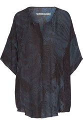 Raquel Allegra Printed Silk Georgette Top Midnight Blue
