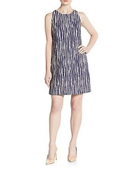 Milly Zebra Jacquard Knit Dress Navy