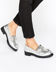 London Rebel Snaffle Trim Chunky Loafers Silver
