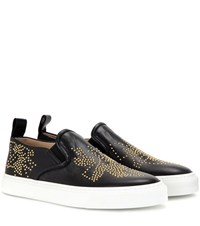 Chloe Susanna Embellished Leather Slip On Sneakers Black